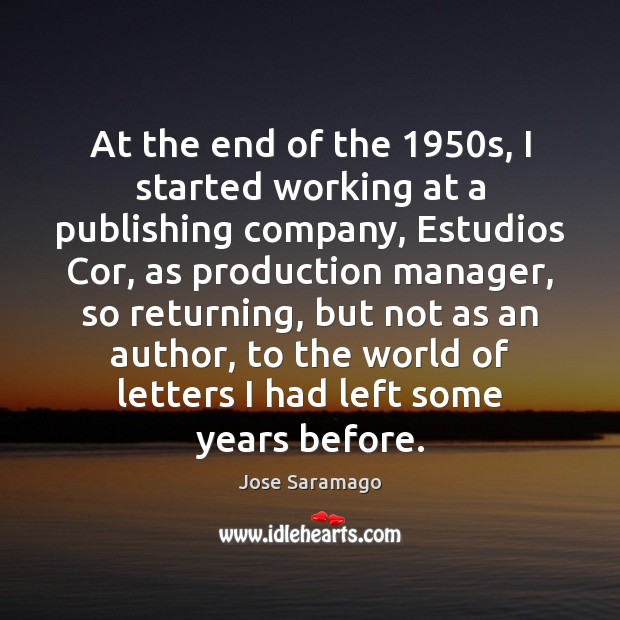 At the end of the 1950s, I started working at a publishing Image