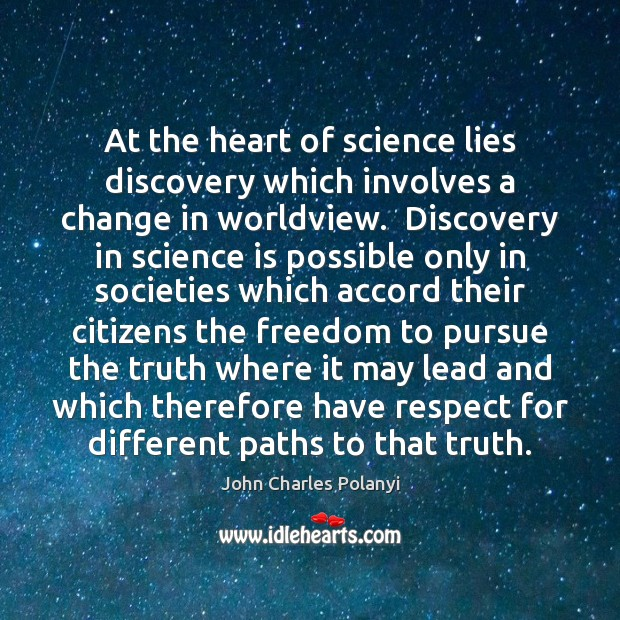 At the heart of science lies discovery which involves a change in John Charles Polanyi Picture Quote