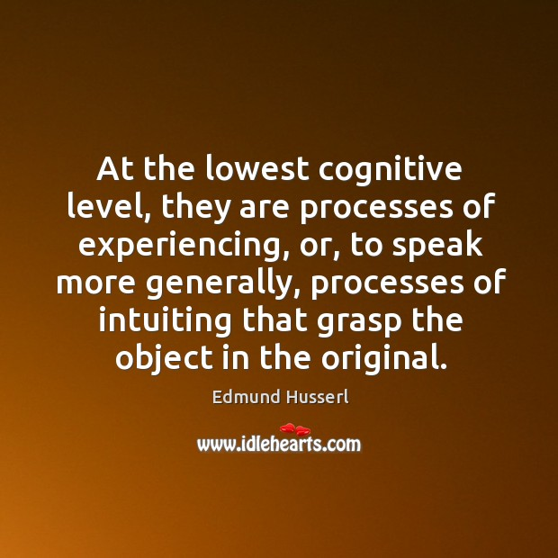 At the lowest cognitive level, they are processes of experiencing, or, to speak more generally Edmund Husserl Picture Quote
