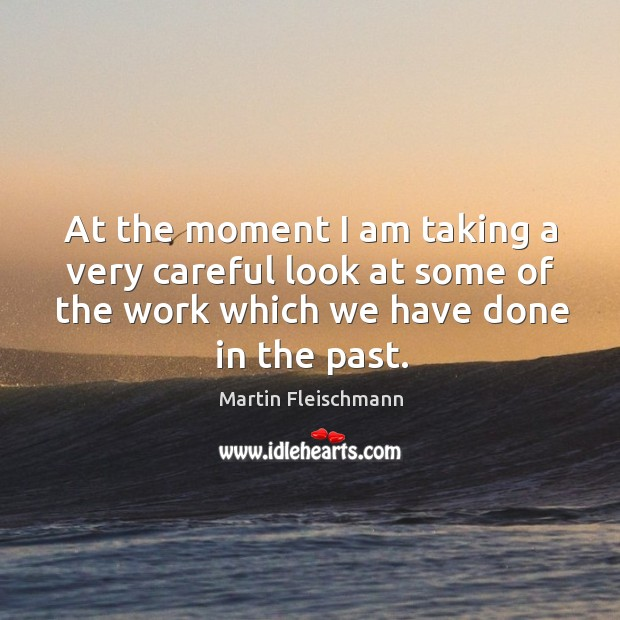 At the moment I am taking a very careful look at some of the work which we have done in the past. Martin Fleischmann Picture Quote