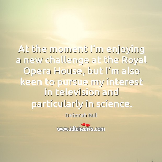 At the moment I'm enjoying a new challenge at the royal opera house Deborah Bull Picture Quote