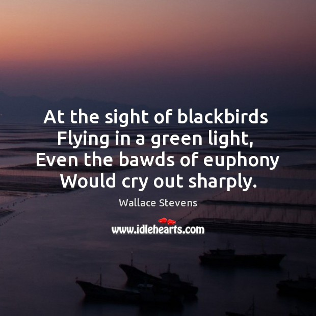 At the sight of blackbirds  Flying in a green light,  Even the Image