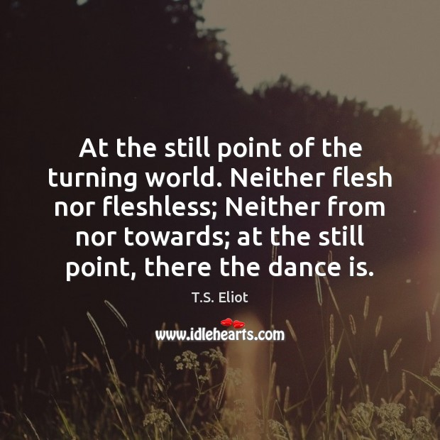 At the still point of the turning world. Neither flesh nor fleshless; T.S. Eliot Picture Quote