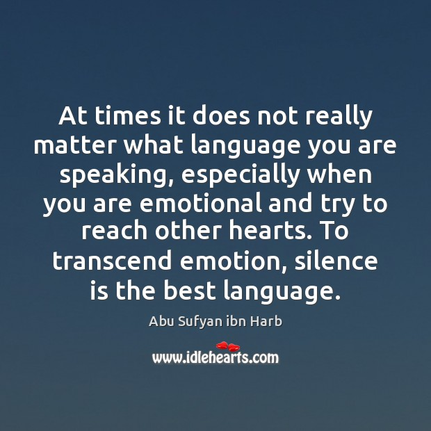 At times it does not really matter what language you are speaking, Silence Quotes Image