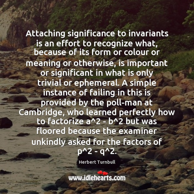 Image, Attaching significance to invariants is an effort to recognize what, because of