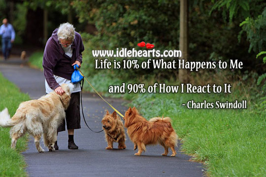 Life is 10% of what happens to me and 90% of how I react to it. Image