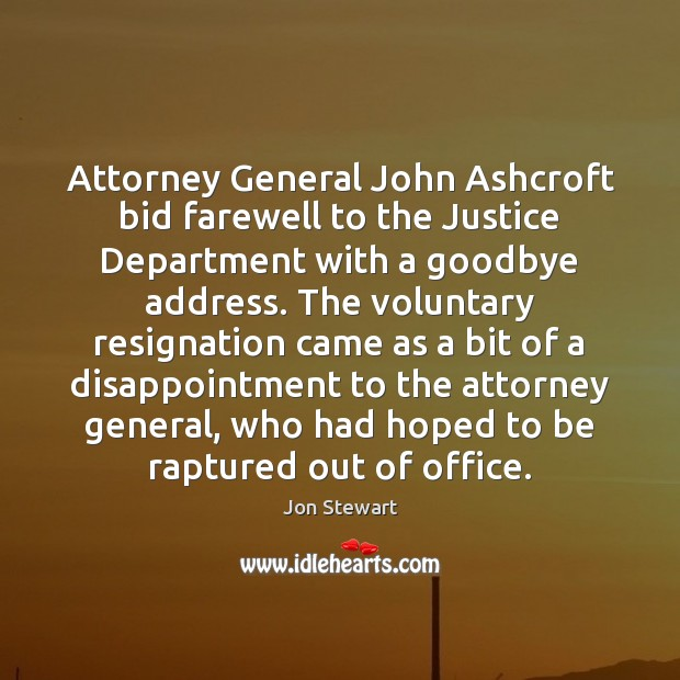 Image, Attorney General John Ashcroft bid farewell to the Justice Department with a