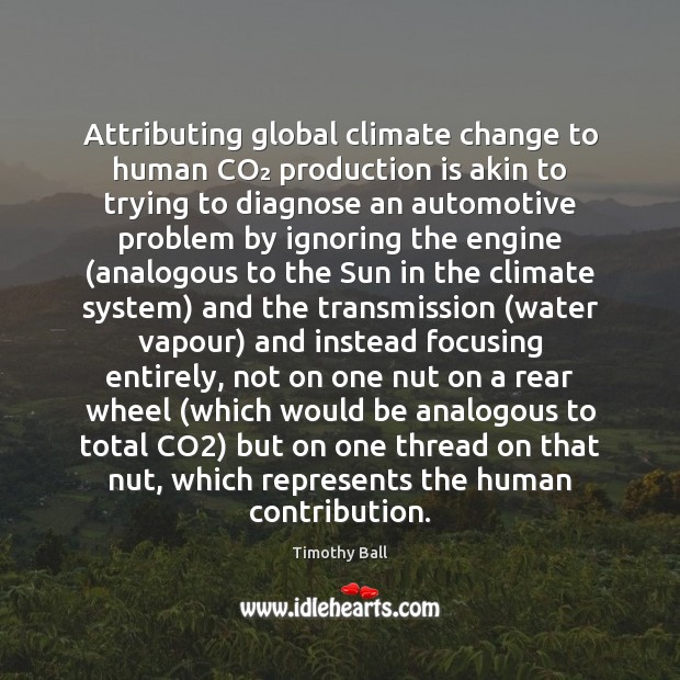 Attributing global climate change to human CO₂ production is akin to trying Climate Quotes Image