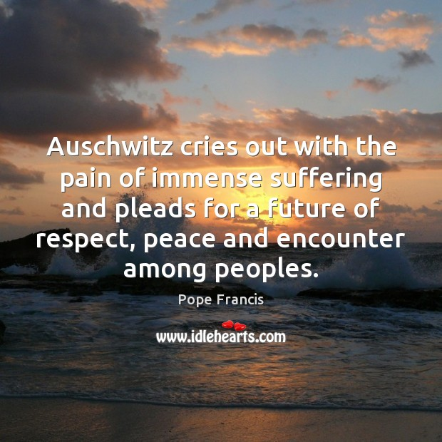 Auschwitz cries out with the pain of immense suffering and pleads for Pope Francis Picture Quote