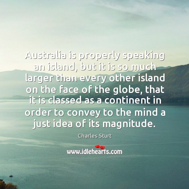 Australia is properly speaking an island, but it is so much larger than every Image