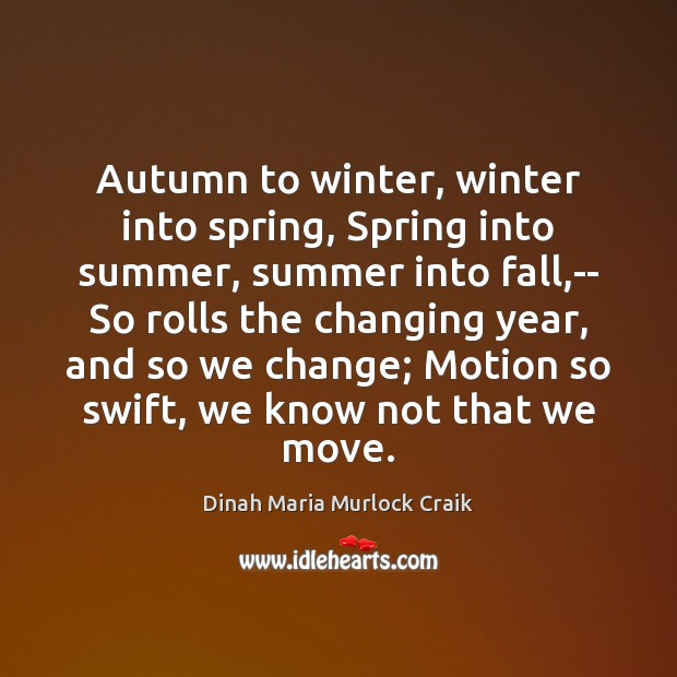 Autumn to winter, winter into spring, Spring into summer, summer into fall, Winter Quotes Image