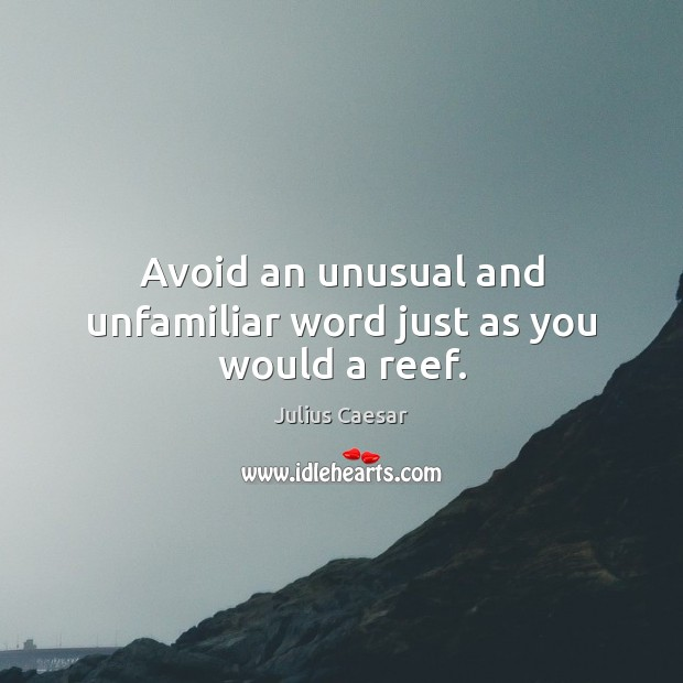 Avoid an unusual and unfamiliar word just as you would a reef. Image