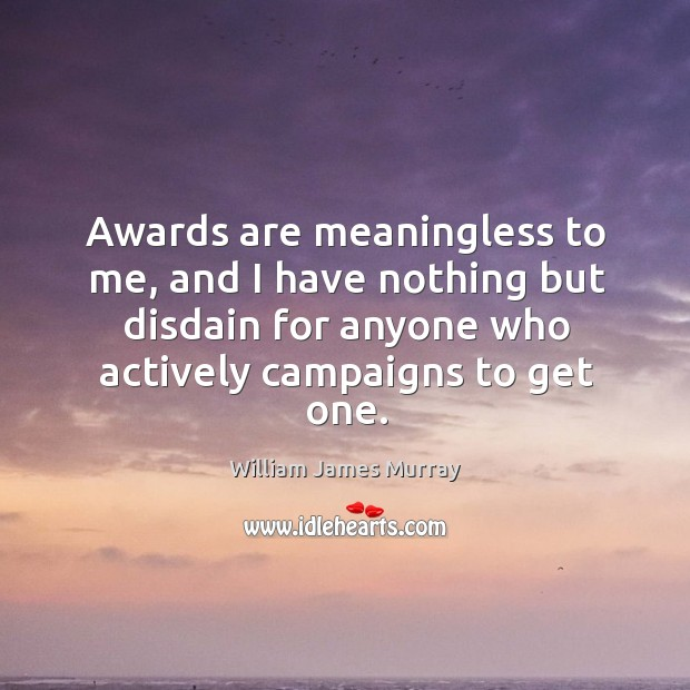 Awards are meaningless to me, and I have nothing but disdain for anyone who actively campaigns to get one. Image