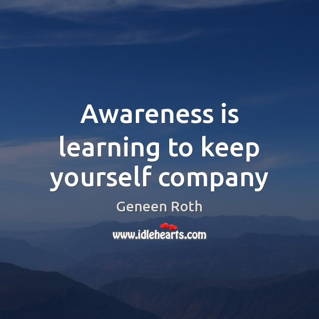 Awareness is learning to keep yourself company Image