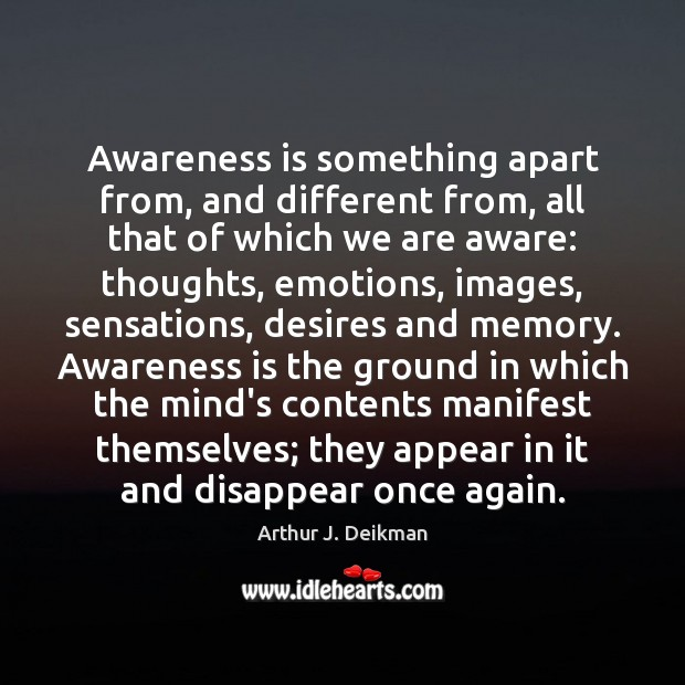 Image, Awareness is something apart from, and different from, all that of which