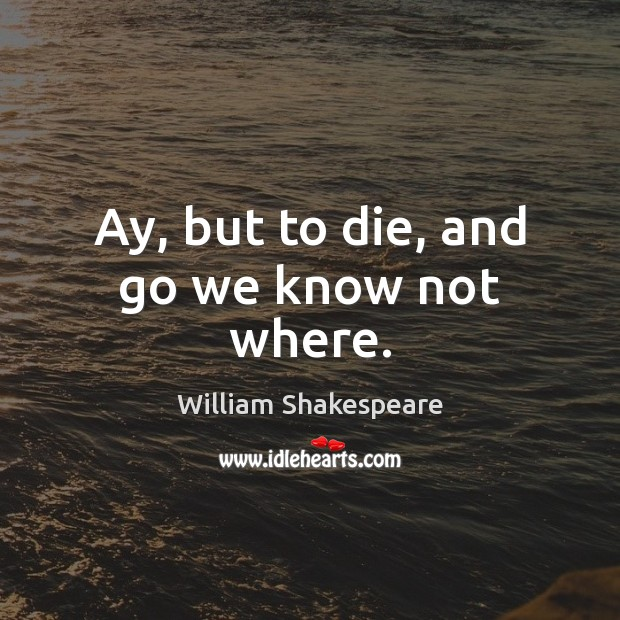 Ay, but to die, and go we know not where. Image