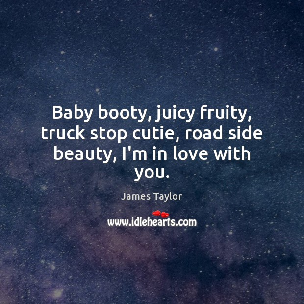 Baby booty, juicy fruity, truck stop cutie, road side beauty, I'm in love with you. James Taylor Picture Quote