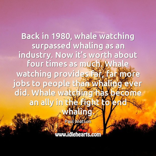 Back in 1980, whale watching surpassed whaling as an industry. Now it's worth Paul Watson Picture Quote
