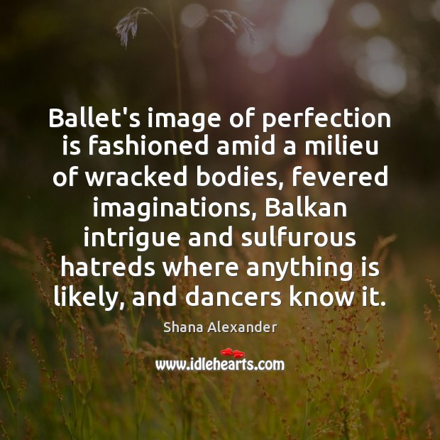 Ballet's image of perfection is fashioned amid a milieu of wracked bodies, Perfection Quotes Image