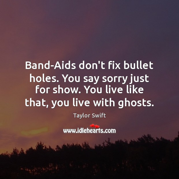Image, Band-Aids don't fix bullet holes. You say sorry just for show. You
