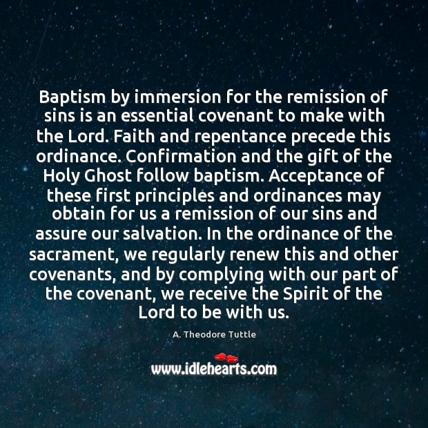 Image, Baptism by immersion for the remission of sins is an essential covenant