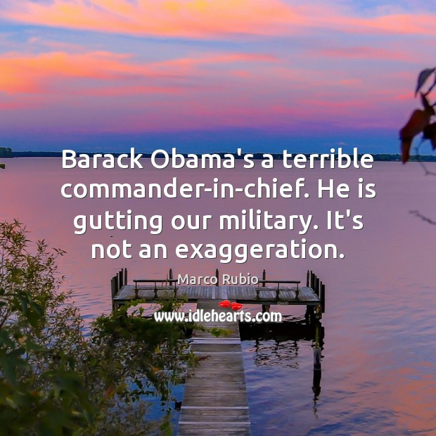 Barack Obama's a terrible commander-in-chief. He is gutting our military. It's not Marco Rubio Picture Quote