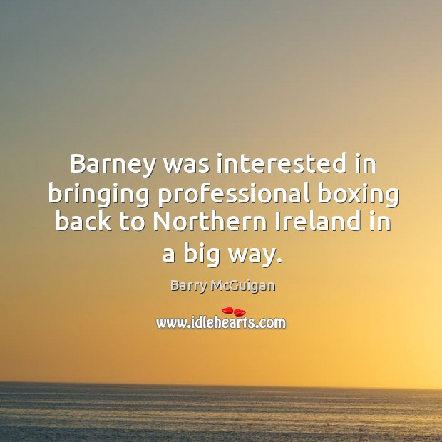 Image, Barney was interested in bringing professional boxing back to northern ireland in a big way.