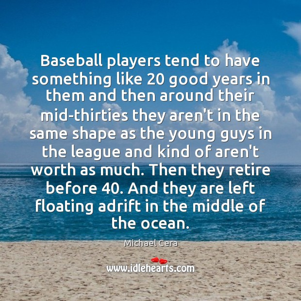 Image, Baseball players tend to have something like 20 good years in them and