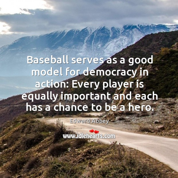 Baseball serves as a good model for democracy in action: Every player Image