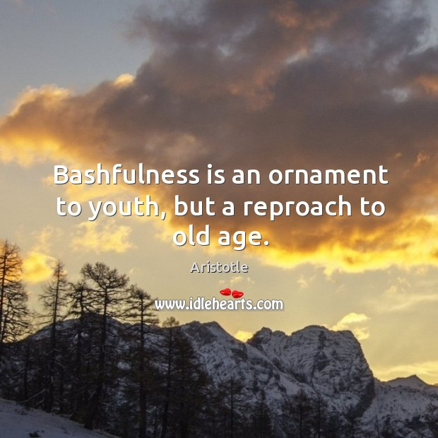 Image, Bashfulness is an ornament to youth, but a reproach to old age.