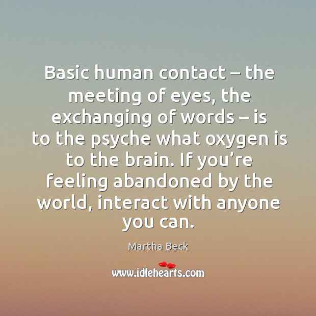 Image, Basic human contact – the meeting of eyes