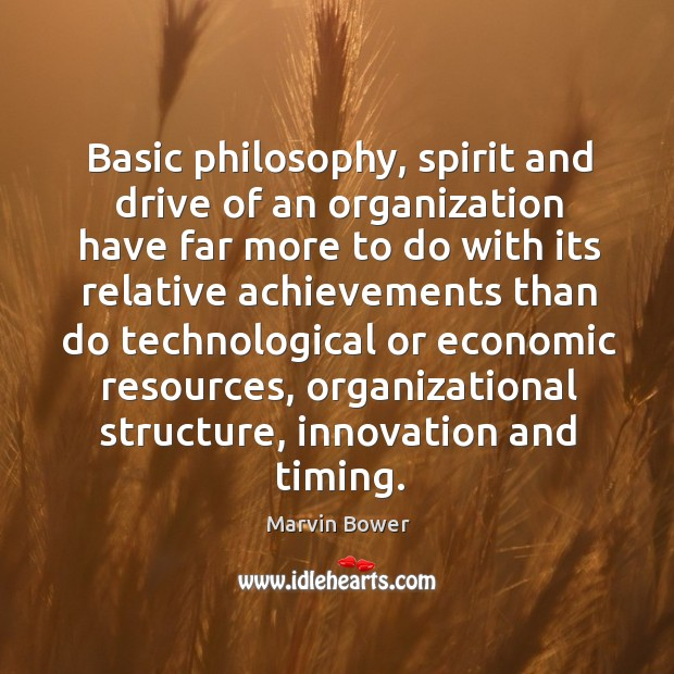 Basic philosophy, spirit and drive of an organization have far more to do with its relative Image