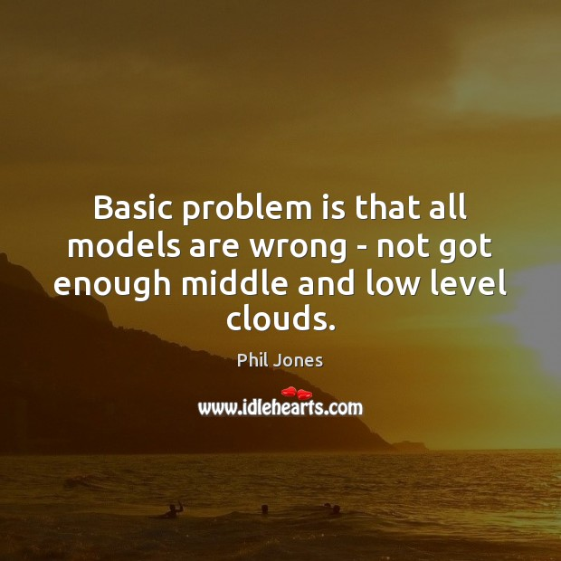 Basic problem is that all models are wrong – not got enough middle and low level clouds. Image