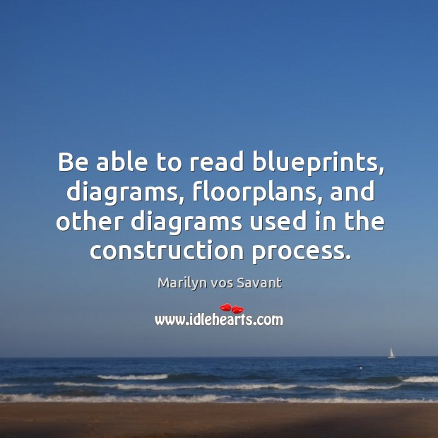 Be able to read blueprints, diagrams, floorplans, and other diagrams used in the construction process. Image