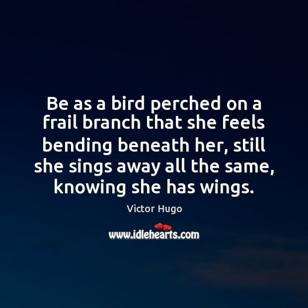 Be as a bird perched on a frail branch that she feels Image