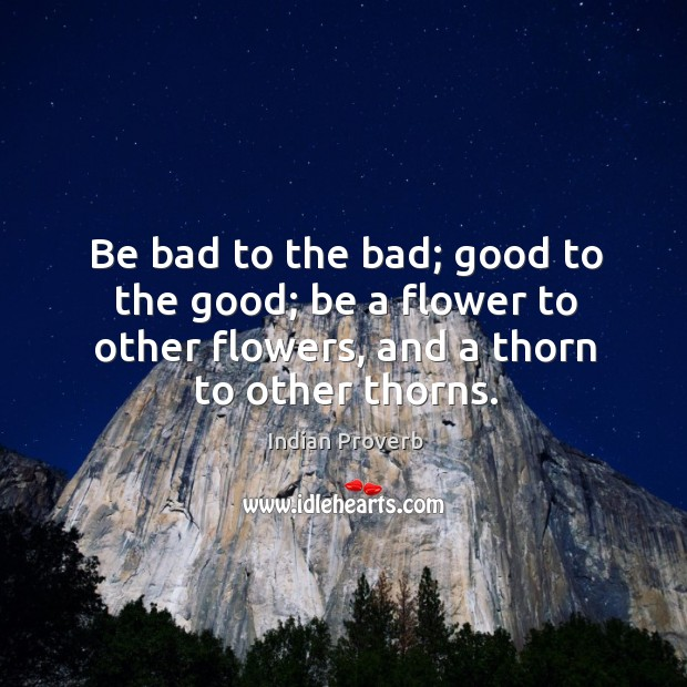Be bad to the bad; good to the good; be a flower to other flowers and a thorn to other thorns. Image