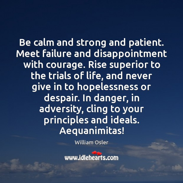 Be calm and strong and patient. Meet failure and disappointment with courage. Image