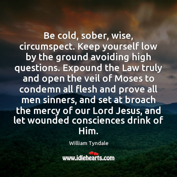 Be cold, sober, wise, circumspect. Keep yourself low by the ground avoiding Image