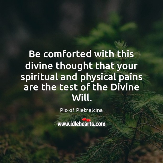 Be comforted with this divine thought that your spiritual and physical pains Pio of Pietrelcina Picture Quote