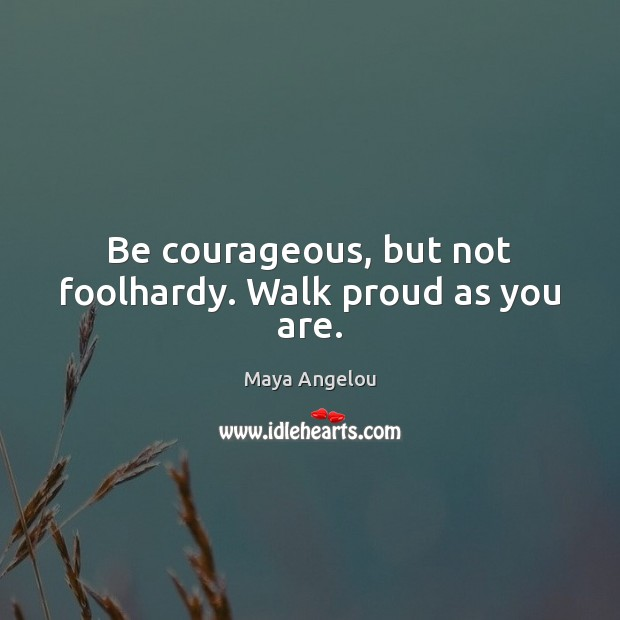 Image, Be courageous, but not foolhardy. Walk proud as you are.