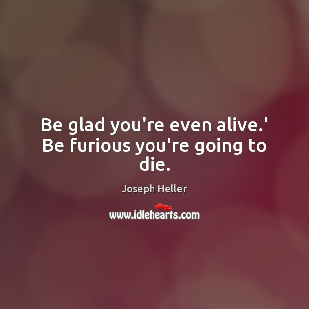Be glad you're even alive.' Be furious you're going to die. Joseph Heller Picture Quote
