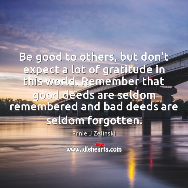 Be good to others, but don't expect a lot of gratitude in Ernie J Zelinski Picture Quote