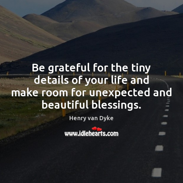Be grateful for the tiny details of your life and make room Henry van Dyke Picture Quote