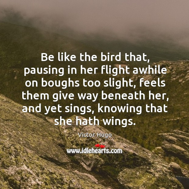 Image, Be like the bird that, pausing in her flight awhile on boughs too slight