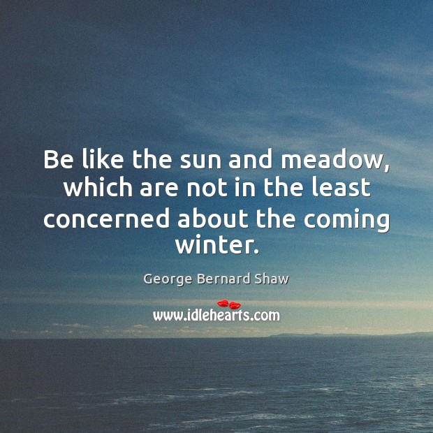 Image, Be like the sun and meadow, which are not in the least concerned about the coming winter.