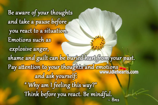 Pay attention to your thoughts and emotions Bns Picture Quote