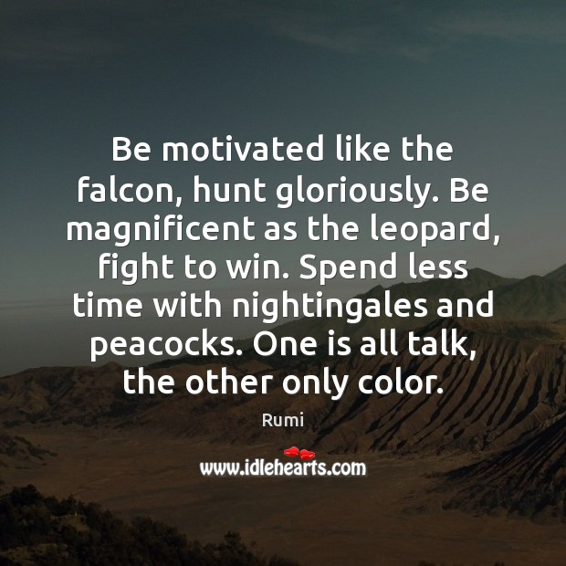Be motivated like the falcon, hunt gloriously. Be magnificent as the leopard, Image
