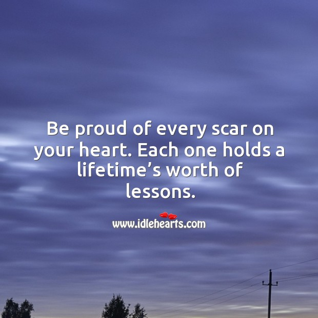 Be proud of every scar on your heart. Each one holds a lifetime's worth of lessons. Image