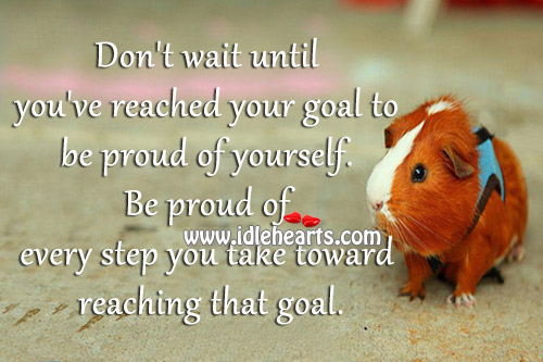 Image, Be proud of every step you take toward reaching that goal.