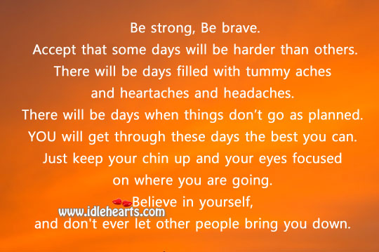 Image, Be strong, be brave. Believe in yourself.